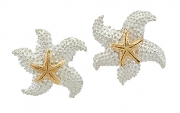 Sterling Silver and 14k Gold Starfish Earrings