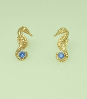 14k Gold Seahorse Earrings with Sapphires