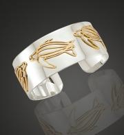 Ss & 14k Gold Leatherback Cuff