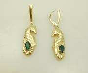 14k Gold Seahorse Drop Earrings with Tourmalines